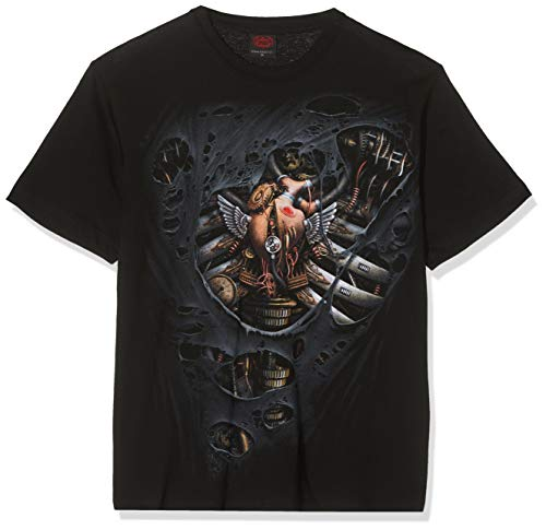 The ticking of a galvanised heart, one with power and passion. The steam drives the pistons and the limbs shudder into life as the pressure gauges reach critical mass and rip the very fabric of the host. T-Shirt Black is made of Top Quality 100% Cott...