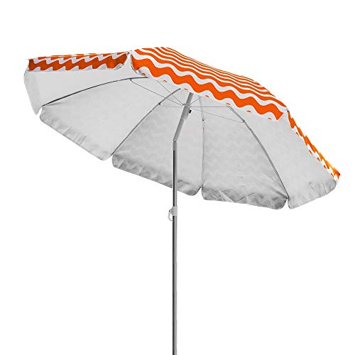 LOLAhome Sombrilla de Playa o Camping Plegable de poliéster de 200 cm (Naranja)