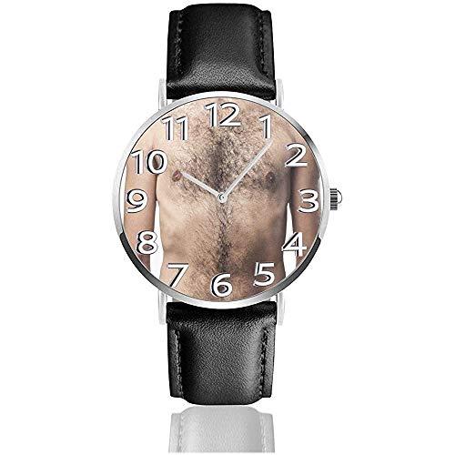 Spoof Hairy Chest Watches Reloj de Pulsera de Cuero PU Reloj de Cuarzo