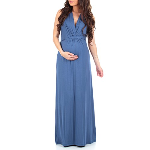 Women's Ruched Maternity and Nursing Maxi Dress with Adjustable Waist Tie in...