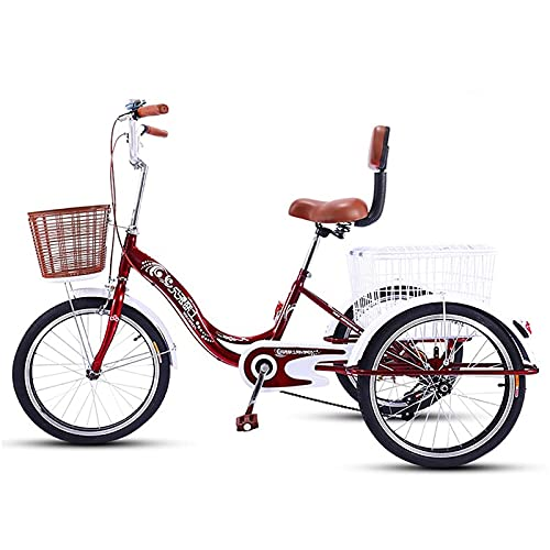 Adult Tricycle 20 Inch Single Speed Trike Bike Adjustable Three Wheel Bike Cruiser Trike with Shopping Basket for Gift Elderly People, Chair with Backrest
