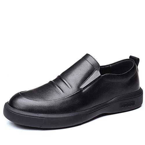 ZHANGCHANG Business Oxfords for Männer Slip on/Lace up Falten Textur echtes Leder Rhythm Toe Endlagendämpfung Kondom alleinigen Männer Formale Schuhe (Color : Black-Slip on, Size : 41 EU)