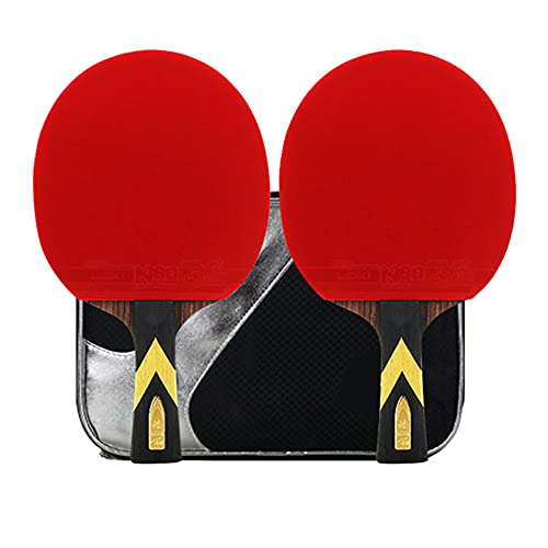 LINGOSHUN Raquetas de Tenis de Mesa Sport de Carbono,Raquetas de Ping Pong para Jugadores Intermedios/Principiantes,Juego Recreativo para 2 Jugadores / 6 Stars/Long handle