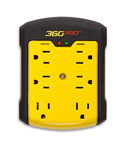 360 Electrical 36002-2CA6ES 360 Pro Surge 6 outlet wall tap, Black/Yellow