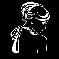 ステッカー剥がし 11.2CM * 15.2CM美しい女性戻るガール髪型デカールビニール車ステッカー ステッカー剥がし (Color Name : Silver)