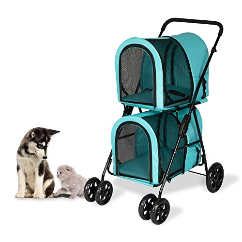 Double Layer Dog Pram Stroller Foldable 3 in 1 Pet Stroller for Dogs Cats (Pet Travel...