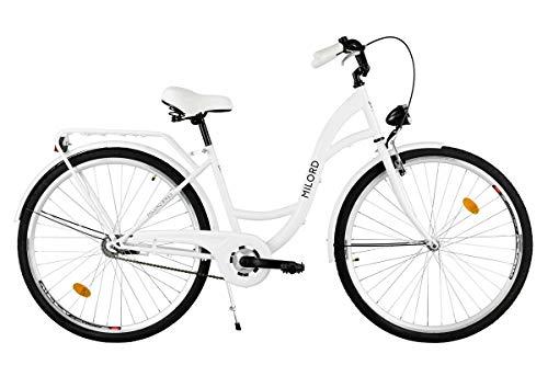 Milord. Komfort Fahrrad mit Gepäckträger, Hollandrad, Damenfahrrad, 3-Gang, Weiß, 26 Zoll