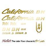 BYTT BH-California-Kit1 Pegatinas Cineli Calcomanías para Bicicleta de montaña Ciclismo Pegatina Pegatina Cañón Bicicleta Ruedas Calcomanías Protector Partes (Color Name : Gold)