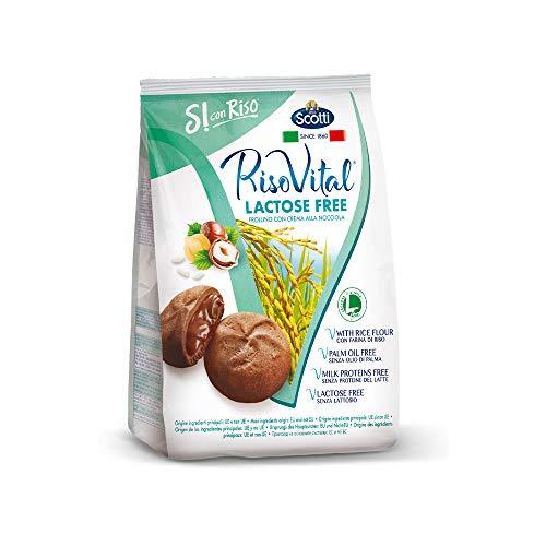 Riso Scotti Si con Riso - Riso Vital Laktosefreie Reiskekse mit Haselnusscreme gefüllt, Kekse ohne Palmöl, 200 g