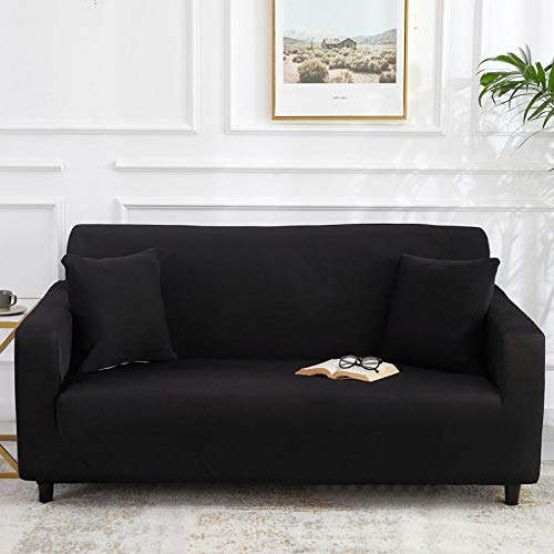 Cojín de sofá Perezoso sofá de Cubierta Completa, Cubierta de sofá de Seda de Leche elástica Completa, Textiles para el hogar Negro de Cuatro plazas 235-300cm