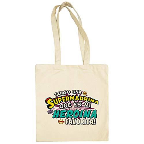 Bolsa de tela tengo una Supermadrina que és mi heroína favorita regalo para madrina - Beige, 38 x 42 cm