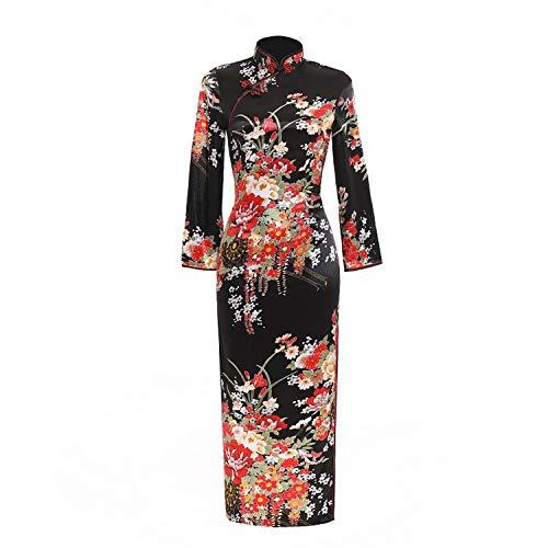 Qipao De seda sintética floral vintage chino vestido chino oriental chino vestido pavo real cheongsam largo vestido chino