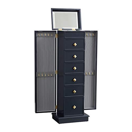 EVEN Cofre de gabinete de Armario de joyería Grande Retro con 6 cajones, 2 Puertas batientes Laterales con 16 Ganchos para Collar