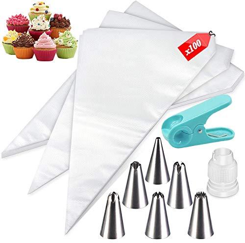 100 Bolsas Desechables para Pasteles-Bolsas Desechables Gruesas para decoración de Pasteles y 6 boquillas, 1 pinza para manga pastelera, 1 adaptador (100 piezas)
