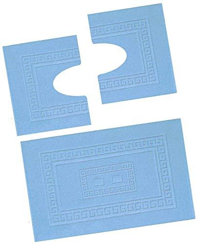 CASA TESSILE Torino Set 3 tappeti Bagno in Spugna, 1 cm 60X90 + 2 Girowater cm 60x45 - Azzurro