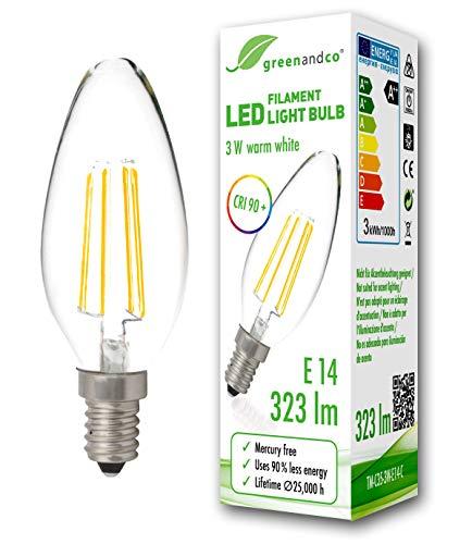 Bombilla de filamento LED greenandco® IRC 90+ E14 3W (corresponde a 30W) 323lm 2700K (blanco cálido) 360° 230V AC vidrio, sin parpadeo, no regulable