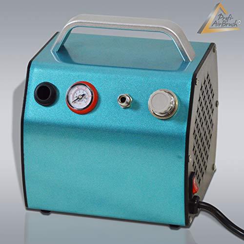 AMUR Airbrush Kompressor zum Schnäppchenpreis, das Gerät f. Anfänger/Fortgeschrittene f. individ. Airbrush-Set, mit Manometer, Vorfilter-Wasserabscheider für Airbrush Farbe