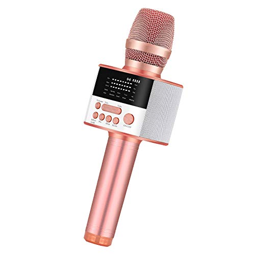 BONAOK Upgraded Portable Bluetooth Wireless Karaoke Microphone with LED Screen, Handheld Singing Machine for Indoor/Outdoor/Party/Classroom/Presentation/All Smartphones(D10 Rose Gold)