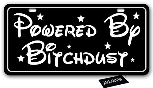 AVA-WVW License Plate | Powered by Bitchdust | Funny Novelty Vanity Front License Plate Frame Cover Gift for Men Women | Decorative Metal Car Plate Sign Auto Tag | Aluminum Plate 6 X 12 Inch (2 Holes)