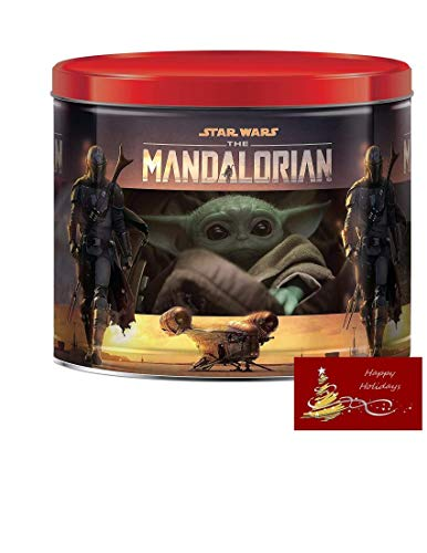 Star Wars Mandalorian Holiday Popcorn Tin, 3 Assorted Flavors Caramel, White Cheddar Cheese, and Butter Flavored 22 oz with Custom...