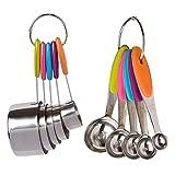 JSMY 10 unids/Set de Tazas medidoras de Acero Inoxidable,Juego de cucharas para cocinar,Hornear,Hacer té,café,Herramientas de medición de Cocina