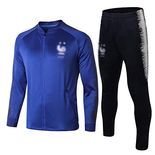 ZH~K Traje de entrenamiento de fútbol para adultos y jóvenes, sudadera de manga larga para correr, transpirable, parte superior y pantalones para hombre QL0174 sudaderas (color: azul, tamaño: XL)