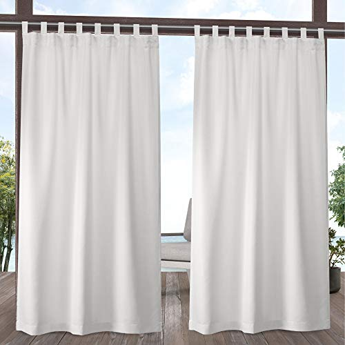 Exclusive Home Curtains Indoor/Outdoor Solid Cabana Tab Top Curtain Panel Pair, 54x96, Vanilla