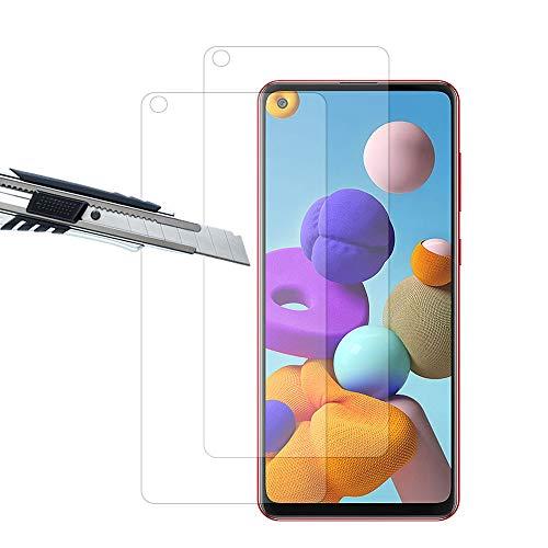 THILIVE (2 Stück Samsung Galaxy A21S Panzerglas, Displayschutzfolie panzerfolie, Folie gehärtetem Glas,9H Härte,Kratzfest,Glasfolie Glas Schutzfolie-klare