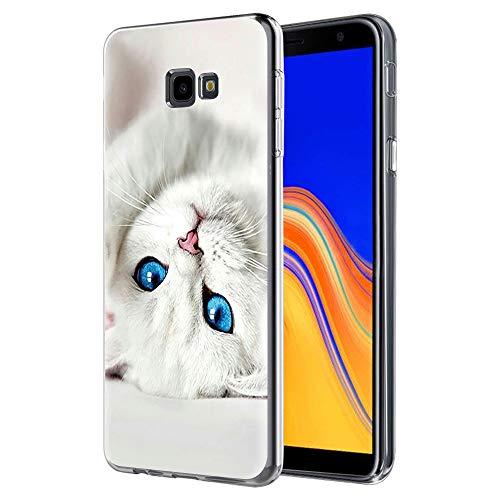 Funda Samsung Galaxy J4 Plus, ZhuoFan Cárcasa Silicona 3D Transparente con Dibujos Diseño Suave Gel TPU [Antigolpes] de Protector Fundas para Movil Samsung J4 Plus 2018 (Gato de Ojos Azules)