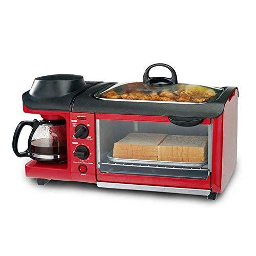 RANRANJJ 3-en-1 Multifunción Desayuno Máquina - Tostador, Diámetro de la Plancha Pan, Cafetera Resistente a Altas temperaturas, Temperatura Constante for Hornear Antiadherente Pan
