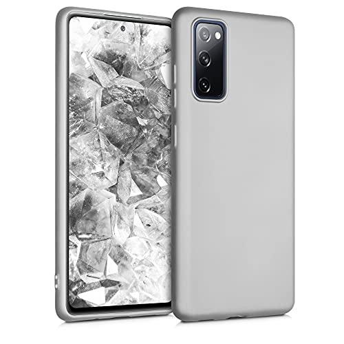kwmobile Hülle kompatibel mit Samsung Galaxy S20 FE - Hülle Silikon metallisch schimmernd - Handyhülle Metallic Silber
