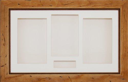 BabyRice–14,5x 8,5Box von Schatten der Kiefer Landhausstil 3D strahlt Blumen Gedenk-Medaille-Display Base, 4Öffnungen, cremefarben