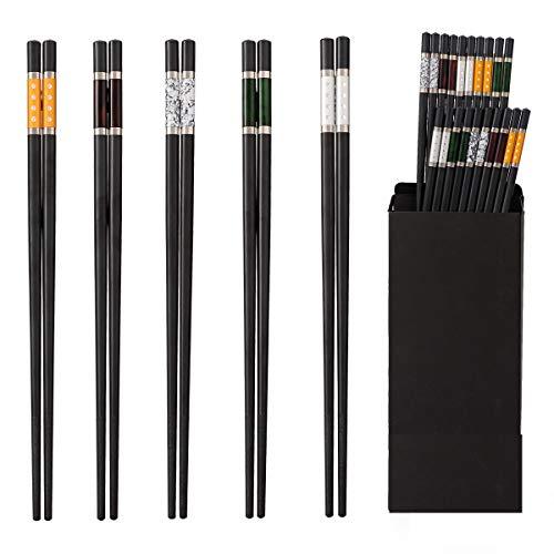 ZITFRI EssStäbchen 10 Paar ESS Stäbchen Japanische Chopsticks Schwarz Stäbchen für Asiatisches Geschirr - Sushi Stäbchen mit Box - Alloy Edelstahl Essstäbchen