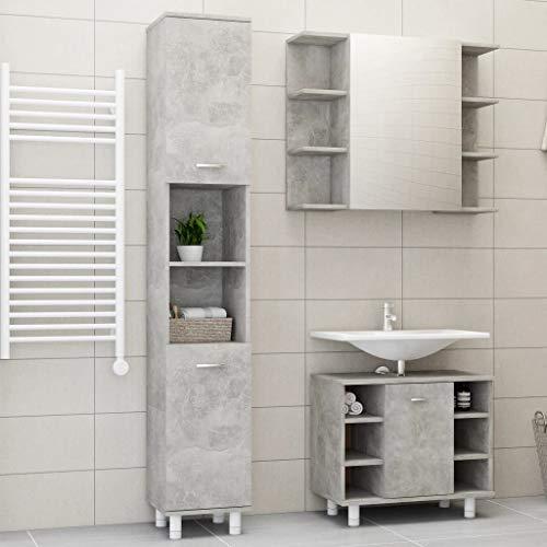 Keyur Bathroom Storage Cabinet + Sink Vanity Cabinet + Mirror Cabinet, Tower Tall Cabinet Bathroom Floor Cabinet 3 Piece Bathroom Furniture Set Concrete Gray Chipboard