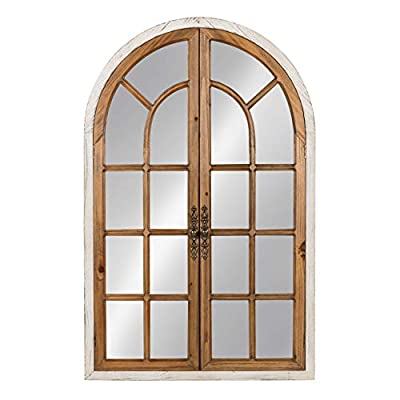 Kate and Laurel Boldmere Wood Windowpane Arch Mirror, 28x44, Rustic Brown/White