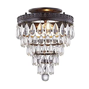 Gruenlich Semi Flush Mount for Outdoor and Indoor, K9 Crystal Ceiling Light Fixture with 2 Light E12 Base, Metal Housing with Oil Rubbed Bronze Finish (Bulb not Included)