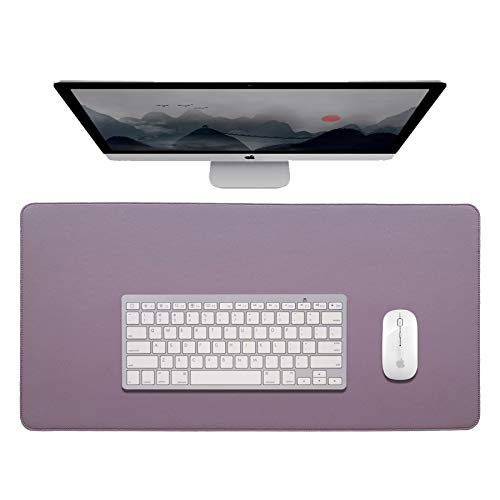 Leather Desk Pad Protector,Office Desk Mat, Mouse Pad Non-Slip PU Leather Desk Blotter,Laptop Desk Pad,Waterproof Desk Writing Pad for Home and Office (Purple + Pink, 31.5 x 15.7 inches)