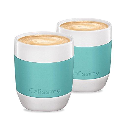 Tchibo Cafissimo Becher oder Tassen aus Porzellan mit Silikonmanschette, 2er Set (XL Becher, Mint)