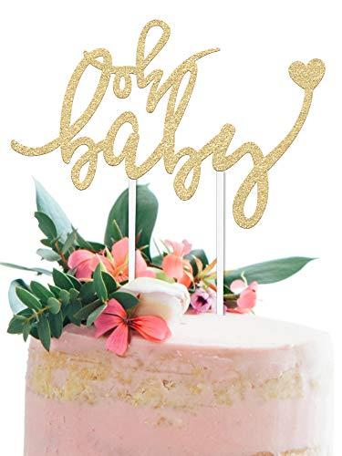 Baby Shower Cake Topper -OH BABY - 6.5 x 4 Double Sided Gold Glitter Cardstock Topper For Baby Showers and Gender Reveal Parties for Boys and Girls - Food-Safe & Eco-Friendly Stand