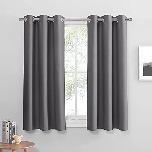 PONY DANCE Gray Blackout Curtains - Thermal Insulated Draperies Window Panels Chrome Top Room Darkening Window Treatments for Bedroom, 42 by 54 inches, Grey, 2 Pieces