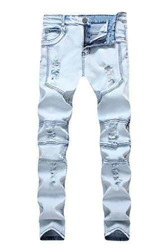 Men's Vintage Acid Wash Ribbed Skinny Fit Ripped Slim Biker Jeans Blue 32