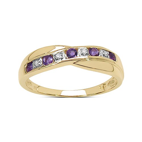 The Diamond Ring Collection: 9ct Gold 0.25ct Amethyst & Diamond Channel Set Crossover Eternity Ring, Valentines Day (Size J)