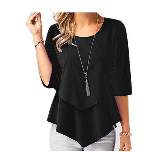 Chiffon-Bluse für Damen, Übergröße, locker, lässig, elegant, für den Sommer Gr. X-Large, Schwarz