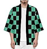 Demon Slayer Kimetsu no Yaiba Tanjiro Kamado Cosplay Costume Party Dress Mens Kimono Cape (L for Height 165cm/64.9inches) Green