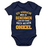 Shirtracer Sprüche Baby - Ich versuche Mich zu benehmen Aber ich komme nach Meinem Onkel orange - 6/12 Monate - Navy Blau - lustige Jungs Bodies - BZ10 - Baby Body Kurzarm für Jungen und Mädchen