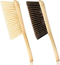 2 Pieces Wooden Bench Brushes Fireplace Brush Horse Hair Bench Brush Soft Bristles Long Wood Handle Dust Brush for Hearth Tidy Car Home Workshop Woodworking