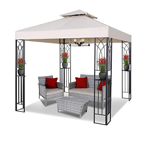 ASTEROUTDOOR 8x8 Outdoor Gazebo for Patios Canopy for Shade and Rain with Corner Shelves Soft Top Metal Frame for Lawn, Backyard and Deck, Beige