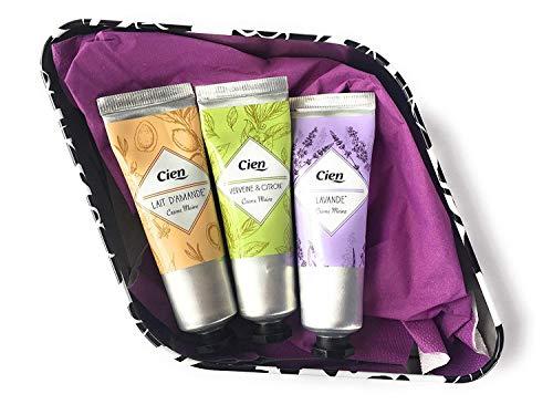 3 x cien Handcreme Lavendel + Eisenkraut und Zitrone + Mandelmilch zu je 30 ml in dekorativer Geschenkbox