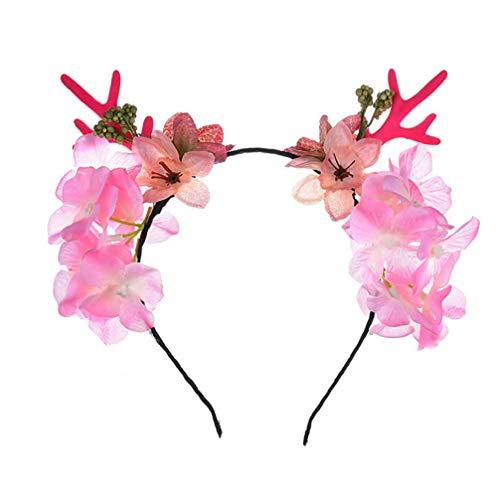 Lurrose Kerstmis Kitz hoorn hoofdband hertengewei haarband met bloemen vakantie party accessoires