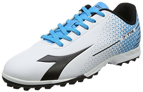 Diadora 7-Tri Tf, Scarpe da Calcio Uomo, Bianco (Bianco/Nero/Blu Fluo), 42 EU